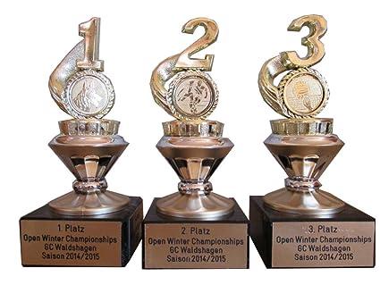 3-serie Sport-trofeos (1, 2, 3) acero inoxidable y el deseo de logotipo.