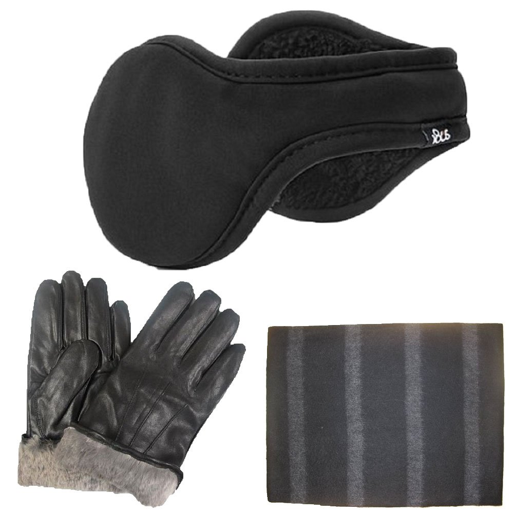 Men's Rabbit Fur Lined Genuine Soft Black Leather Gloves & a Black & Grey Thin Stripes Super Soft Luxurious Cashmere Lightweight Winter Scarf &180s Adjustable Black Ear Warmer Set (Large) by Bon Bonito