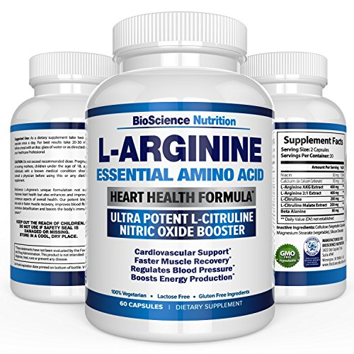L-Arginine 1000mg Plus 340mg with L-Citrulline Cardio Heart Supplements | Nitric Oxide Boosters for Endurance and Energy | BioScience Nutrition USA | 60 Capsules - Muscle Building Creatine Caplets