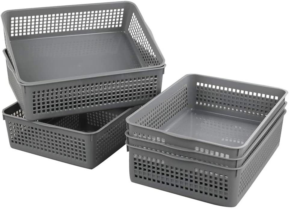 Nicesh A4 Size Plastic Basket, Desktop File Storage Organization Tray, Set of 6 (Grey)