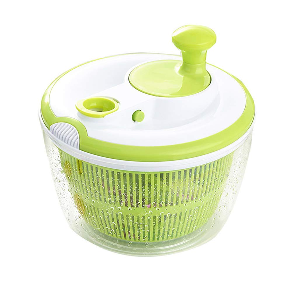 Large Salad Spinner BPA Free-Manual Lettuce Dryer and Vegetable Washer with Quick Dry Design, Easy Spin for Tastier Salads, 5qt, Green