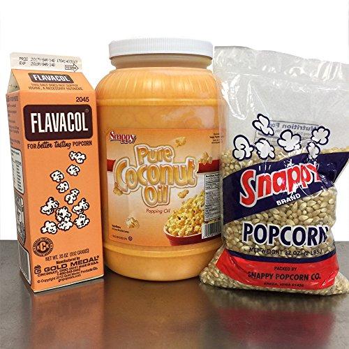 Popcorn Starter Pack: 1 gallon Coconut Oil, 1 Carton Flavacol, 2# White Popcorn