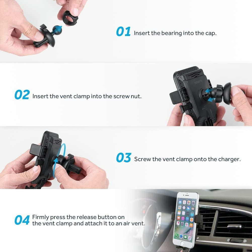 S7 S7 Edge // S6 Edge Plus Note 8//5 S8// S8 Plus Air Vent Phone Holder Gravity Car Mount Charger for Samsung Galaxy S9// S9 Plus NOVETE Wireless Car Charger