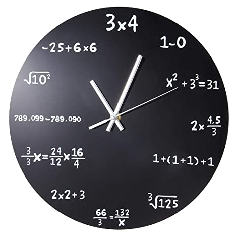 YJSMXYD Reloj De Pared Grande Matemáticas Pizarra Prueba De ...