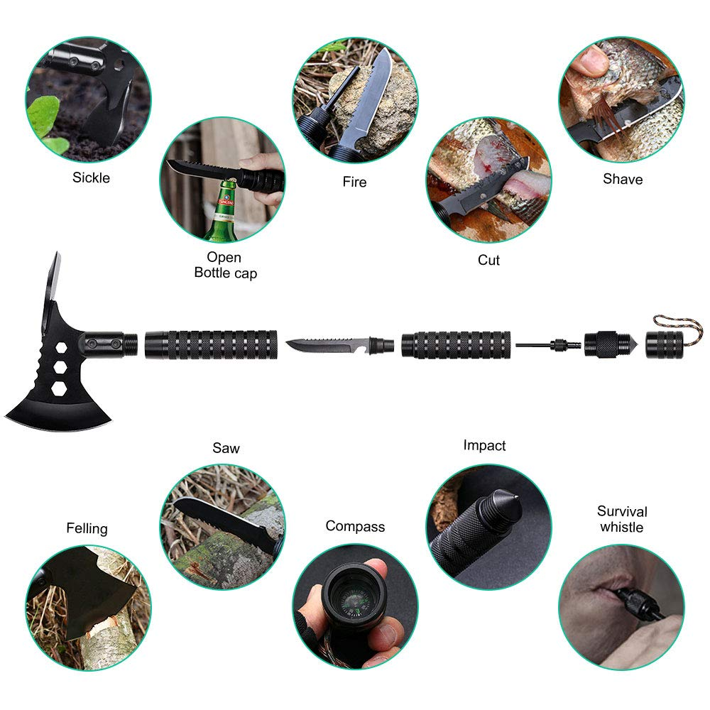 LIANTRAL Camping Stainless Axe with Sheath 18 inch Multitool Tactical Hatchet Shovel for Camping Hiking Hunting Backpacking Emergency Outdoor Adventures Survival Hatchet Portable Folding Axe by LIANTRAL (Image #3)