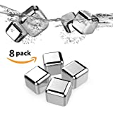 Whiskey Stones - Top Super Set of 8 with Plastic Storage Box Tongs, Stainless Steel Reusable Wine Ice Cubes, Beer Chilling Rocks and Wine Stones