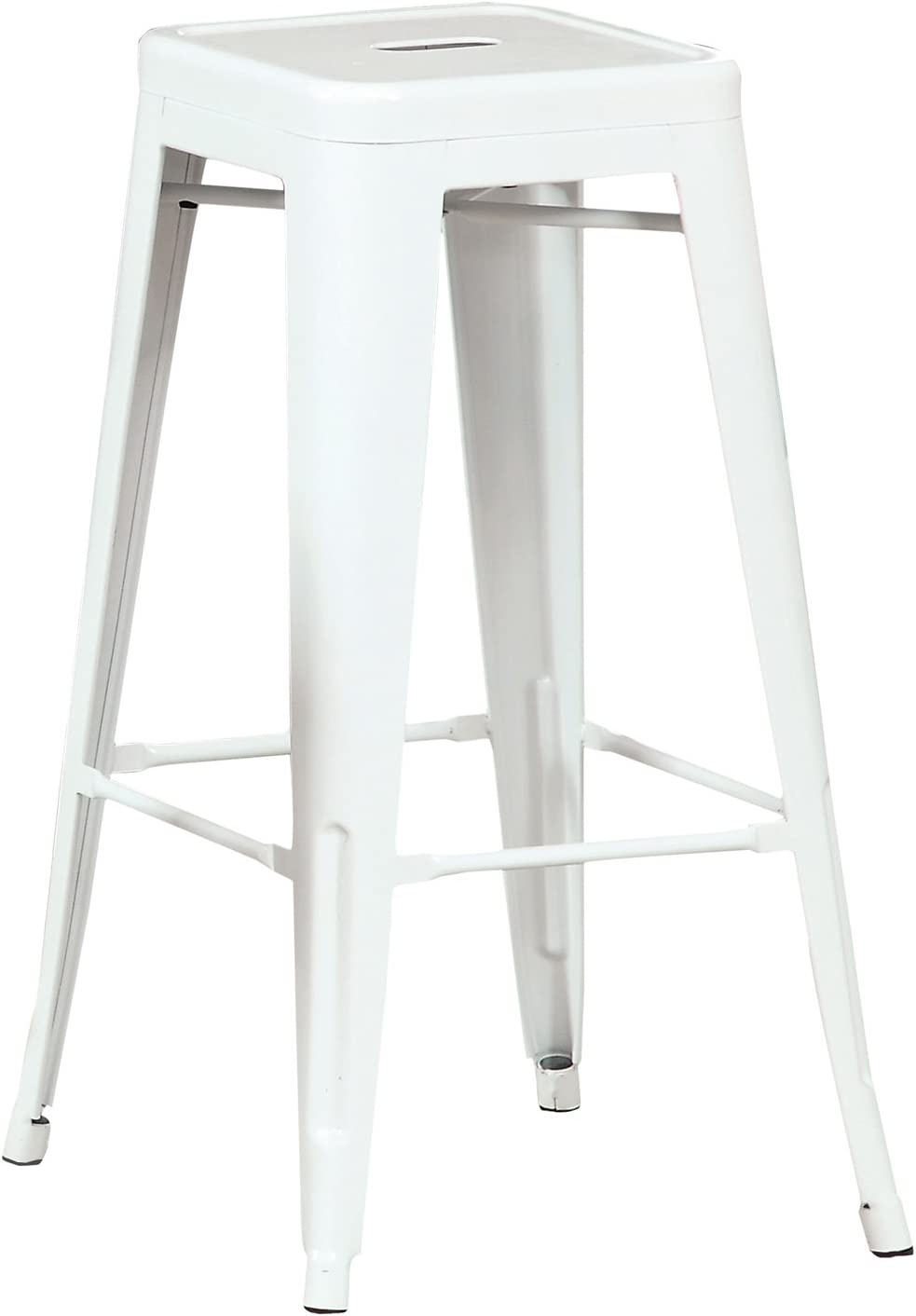 Furniture of America Karthe Modern Steel Stool, White, Set of 2