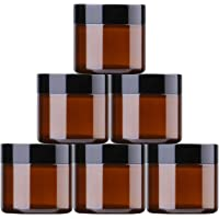 THETIS Homes 2 oz Round Glass Jars with Labels - 6 Brown