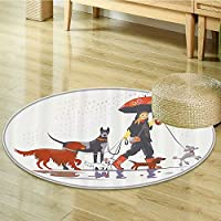 Dog Lover Decor Circle carpet by Nalahomeqq Young Modern Girl Taking Pack of Dog for a Walk in the Rain Fun Joyful Times Artsy Print Room Accessories Multi-Diameter 80cm(32)