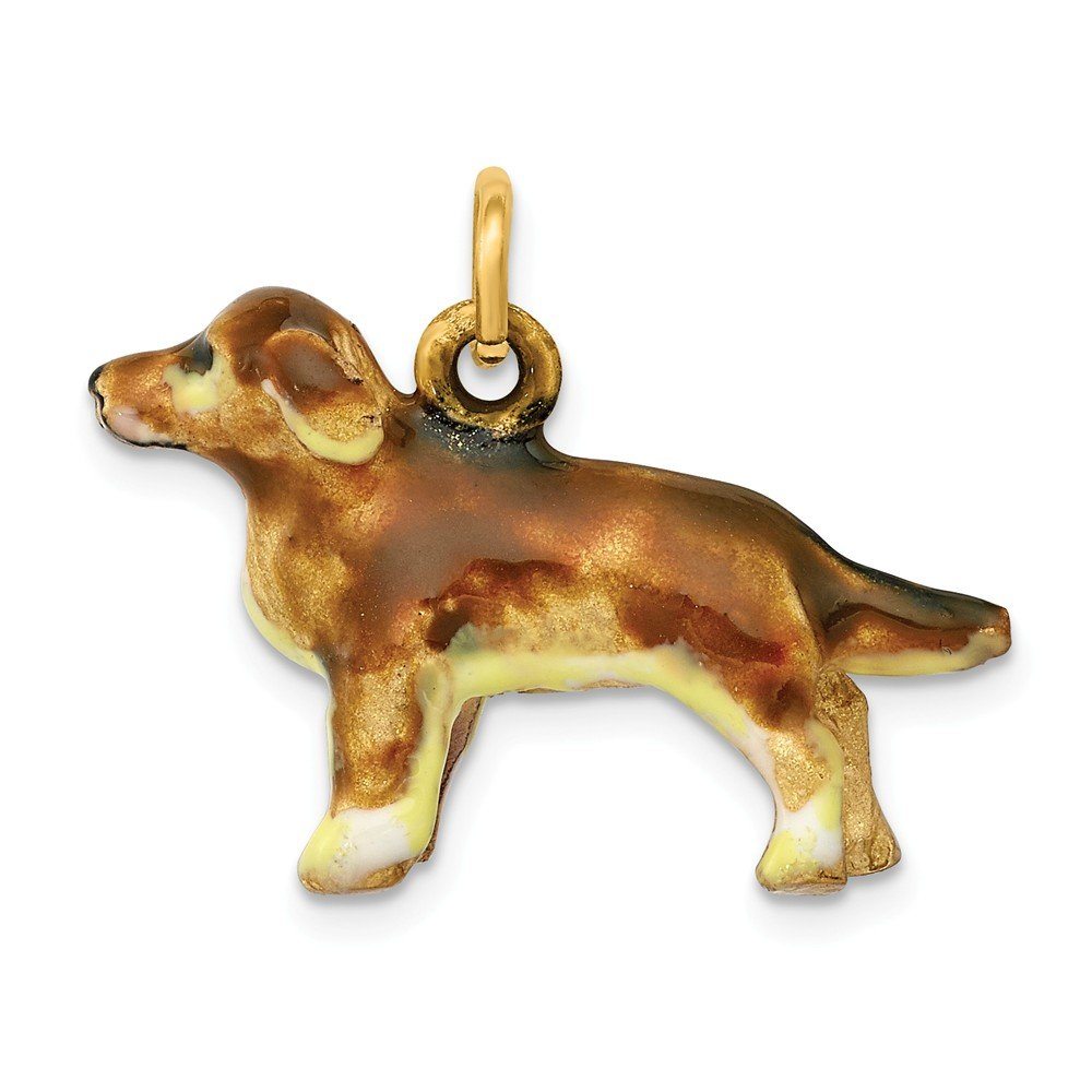 14K Enameled Small Golden Retriever Dog Charm by DiamondJewelryNY (Image #1)