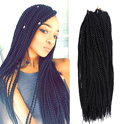 Senegalese Twist Crochet Braids Hair styles 2S Pretwist Box Braid Crochet Hair Extensions 18 Inch 90 Strands 201 Grams/Pack (18 inch 3 pcs, - Medium Twist