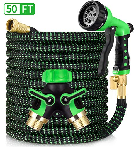 HBlife 50ft Garden Hose, All New 2020 Expandable Water Hose with 3/4″ Solid Brass Fittings, Extra Strength Fabric – Flexible Expanding Hose with Free Water Spray Nozzle, 2-Way Hose Splitter