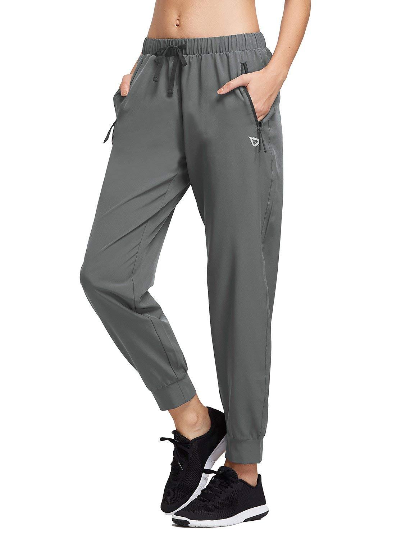 BALEAF Women's Lightweight Running Pants Woven Joggers Sun Protection UPF 50+ Zipper Pockets Gray X-Small