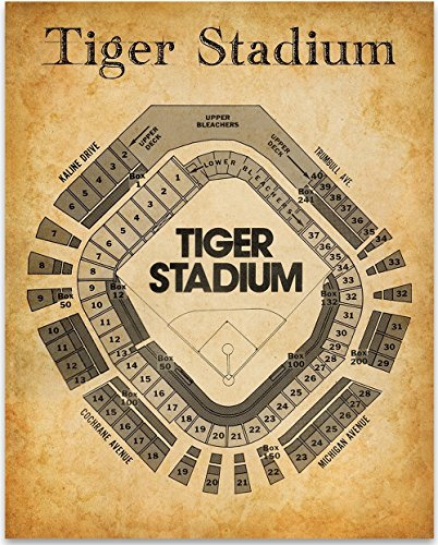 Old Tiger Stadium Seating Chart - 11x14 Unframed Art Print - Great Sports Bar Decor and Gift for Baseball Fans ()