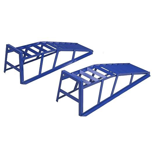 PKW Rampe Auffahrbock mit 21 Grad Auffahrwinkel und 240 mm Auffahrh/öhe Helo 2 St/ück KFZ Auffahrrampe blau 2000 kg Belastung pro Paar max. 265 mm Reifenbreite