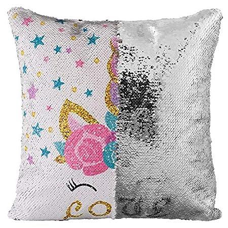 Outflower Licorne Motif Paillette Taie doreiller Bicolore Housse de Coussin de Voiture Canap/é Coussin Couverture