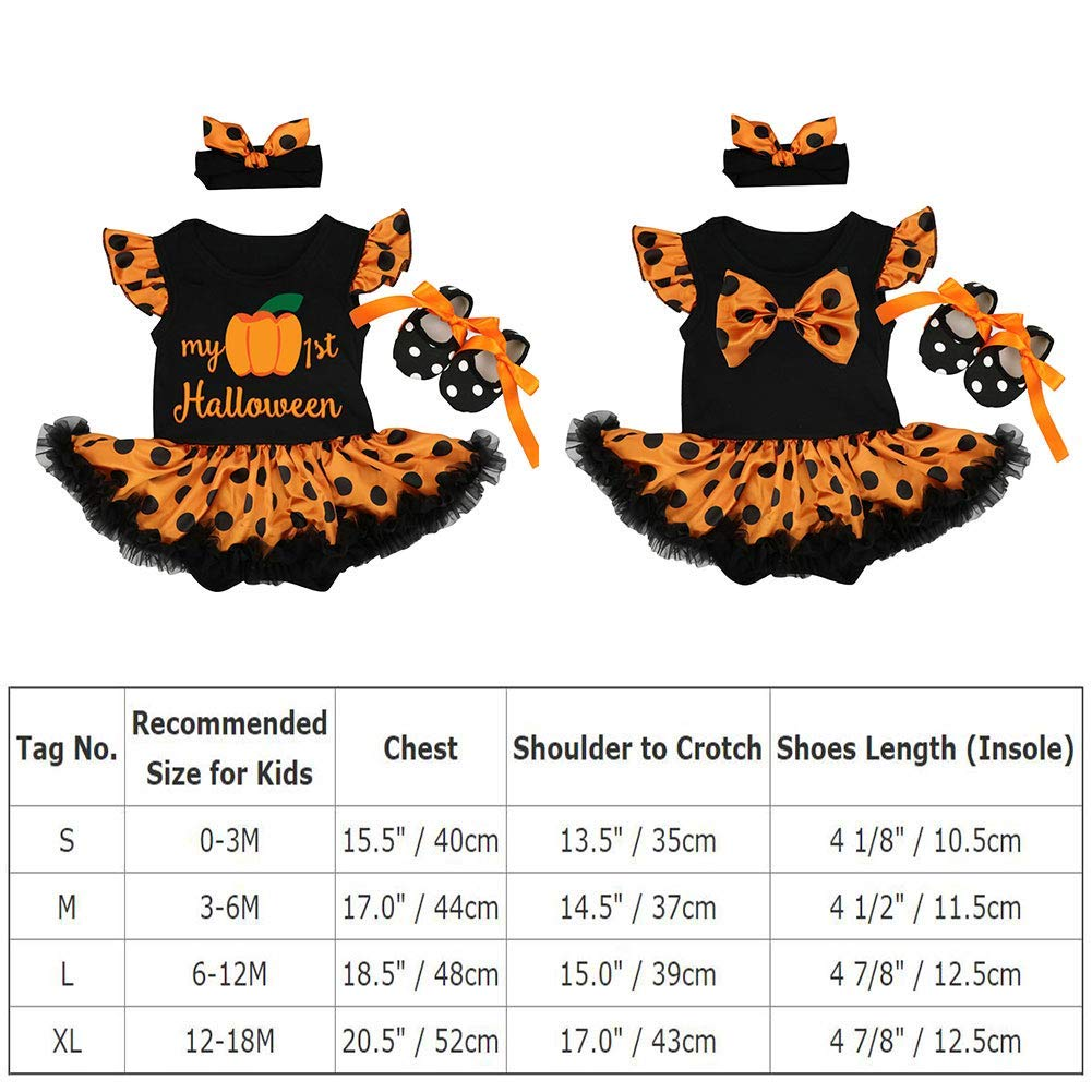 Crib Shoes 3pcs Set Fancy Dress Up Clothes Party Costume Headband OwlFay Newborn Baby Girls My 1st Halloween Outfits Flutter Sleeve Pumpkin Romper Bodysuit Tutu Dress