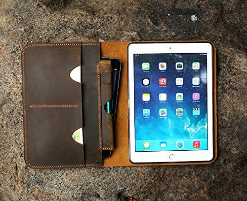Personalized New iPad Pro 10.5 leather cover portfolio apple pencil holder distressed leather iPad cover case for 2017 iPad Pro 10.5 IDP15SP ()