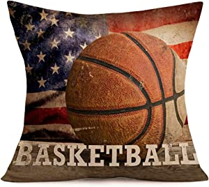 "Tlovudori Vintage American Style Basketball Throw Pillow Covers Patriotic American Flag July 4th with Popular Sports in USA Pillow Cases Cushion Cover for Sofa Car Bed 18""x18"" (Basketball Flag)"