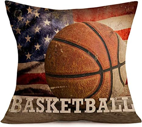 Amazon Com Vintage Rustic American Flag With Basketball Throw Pillow Cover For July 4th Independence Day Decorative Pillow Covers Cotton Linen Throw Pillow Case Patriotic Cushion Cover 18 X 18 Basketball Flag Home