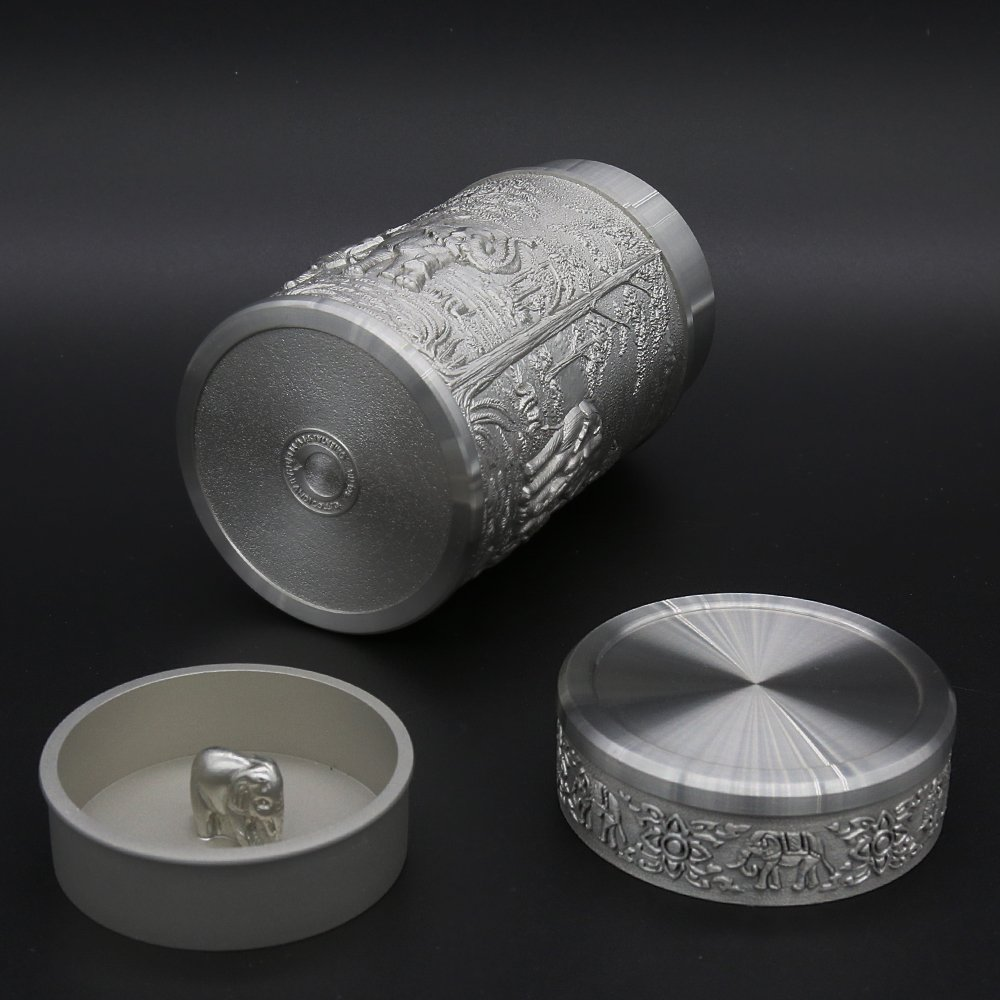 Oriental Pewter - Pewter Tea Storage, Caddy -TPCM4- Hand Carved Beautiful Embossed Pure Tin 97% Lead-Free Pewter Handmade in Thailand by Oriental Pewter (Image #5)