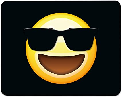 ADDIES Mousepad Emoji/Emoticons. Bonito para ratón diseño en Fina celofán de regalo del paquete con caucho bajo material, Negro, 240 x 190 mm), diseño ...