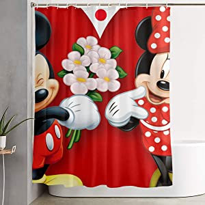 Shower Curtain with Hook - Mickey Mouse Minnie Love Couple Heart Waterproof Polyester Fabric Bathroom Decor 60 X 72 Inches