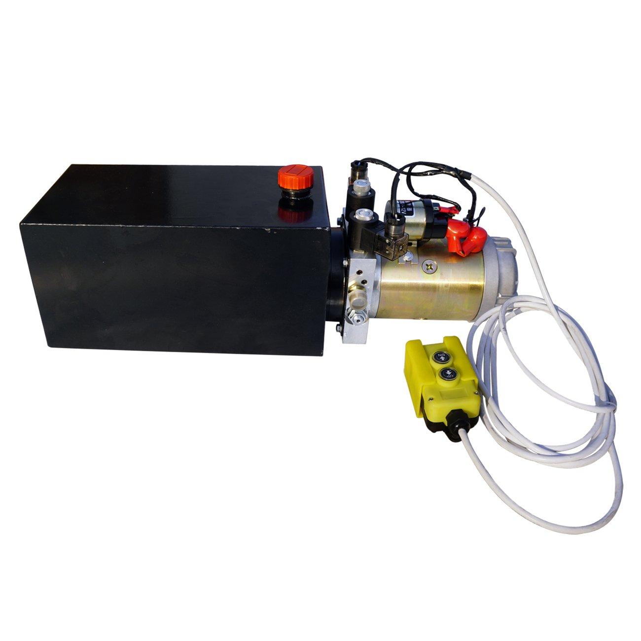 ECO-WORTHY Hydraulic Power Unit 10 Quart Pump Double Acting Hydraulic Power  12V DC Steel Tank Hydraulic Pump Power Unit for Dump Trailer Car Lifting