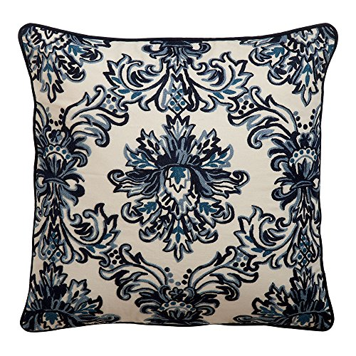 Ethan Allen Crewel Embroidered Medallion Pillow, Blue