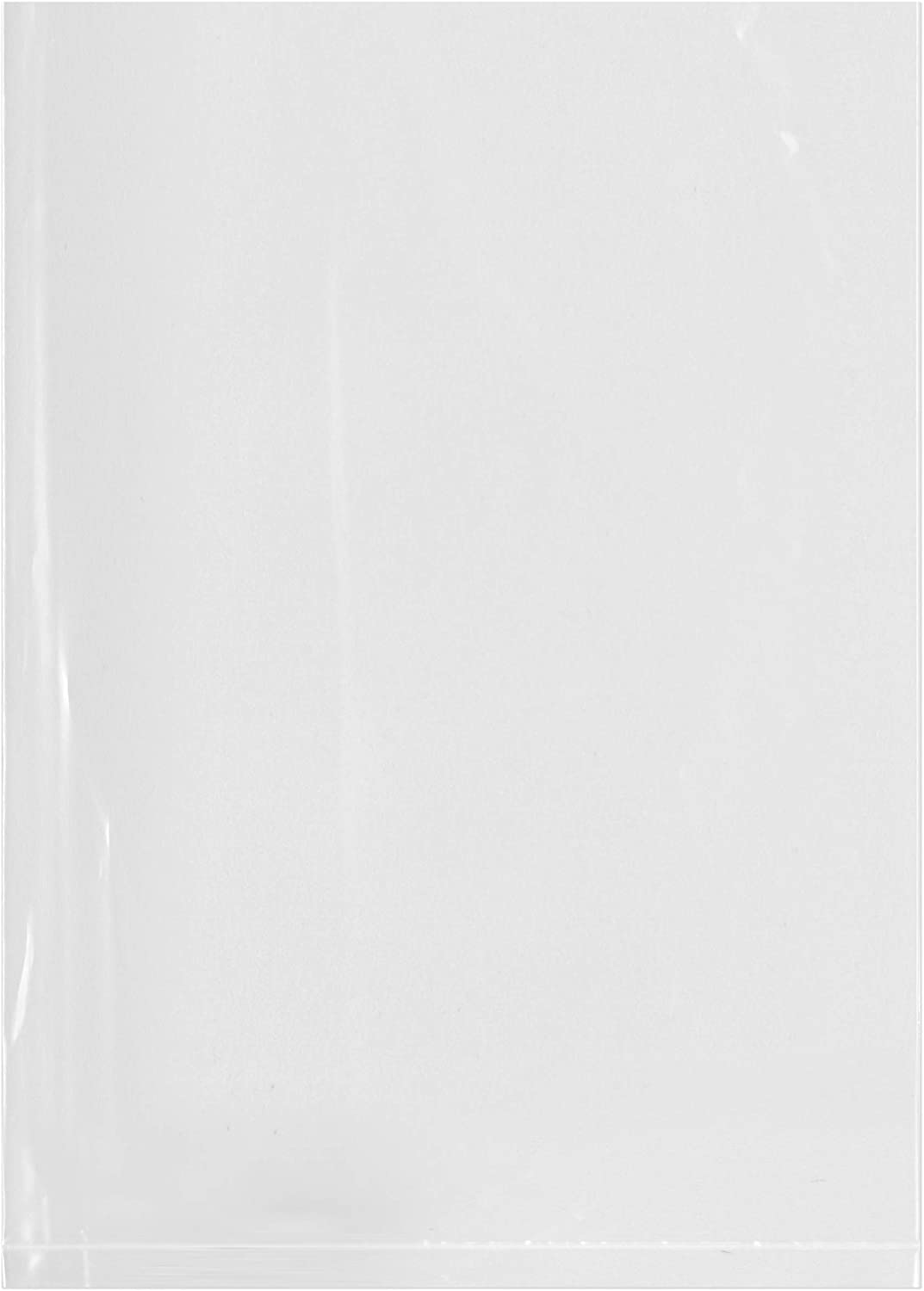 Plymor Flat Open Clear Plastic Poly Bags, 1.25 Mil, 5