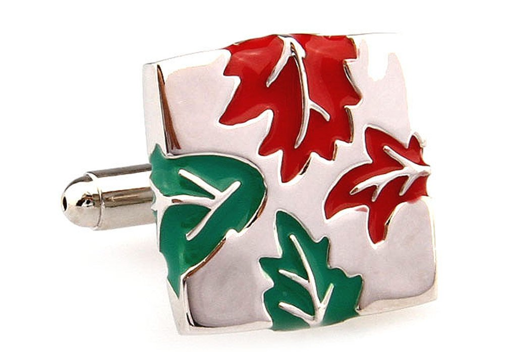 Mens Executive Cufflinks Summer to Autumn Changing Red and Green Fall Leaves Leaf Cuff Links