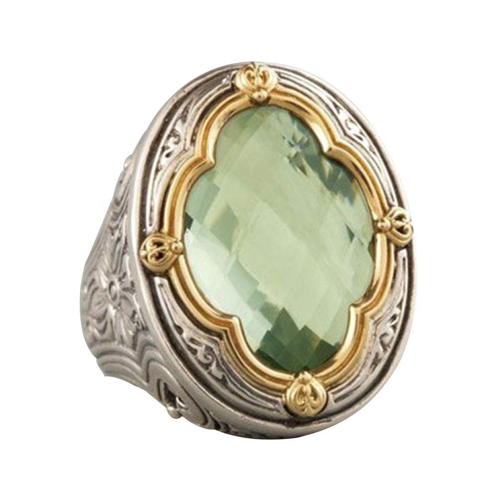 Himpokejg Women's Fashion Vintage Faux Gemstone Finger Ring Engagement Wedding Band Jewelry Gifts - Green US 10