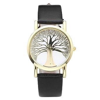 Damenuhren schwarz gold  JSDDE Uhren,Damenmode Gold Baum des Lebens Muster Armbanduhr ...