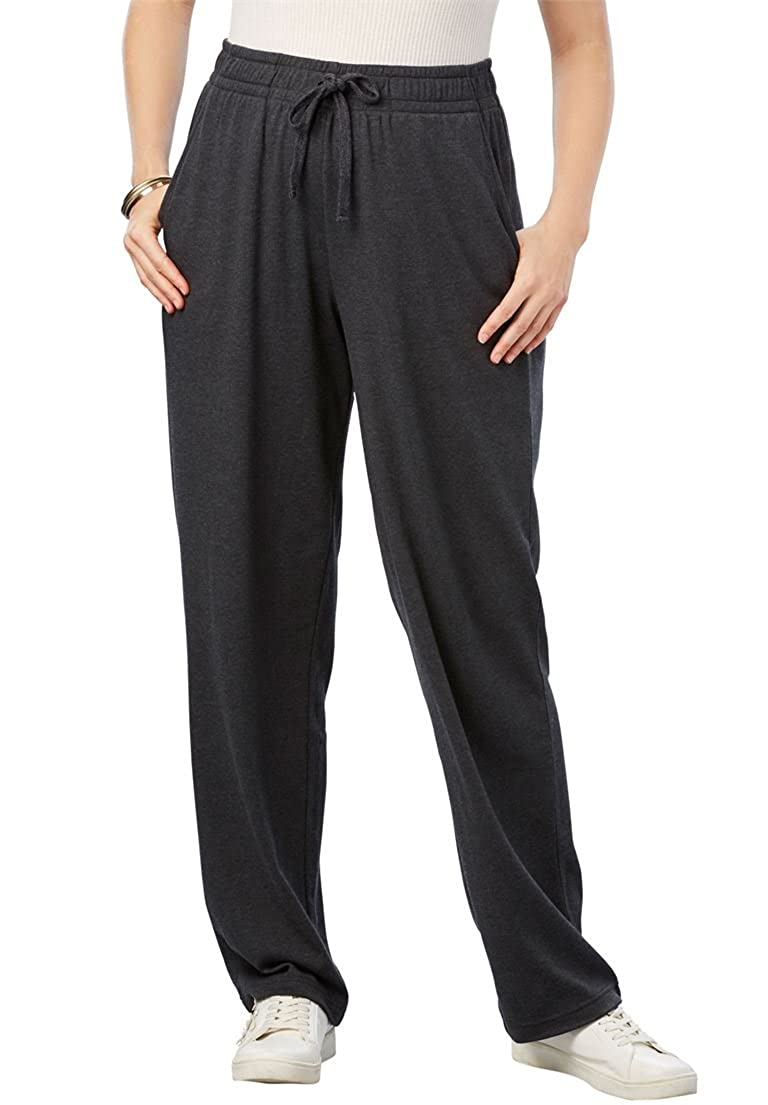 Roamans Women's Plus Size Straight Leg Soft Knit Pant