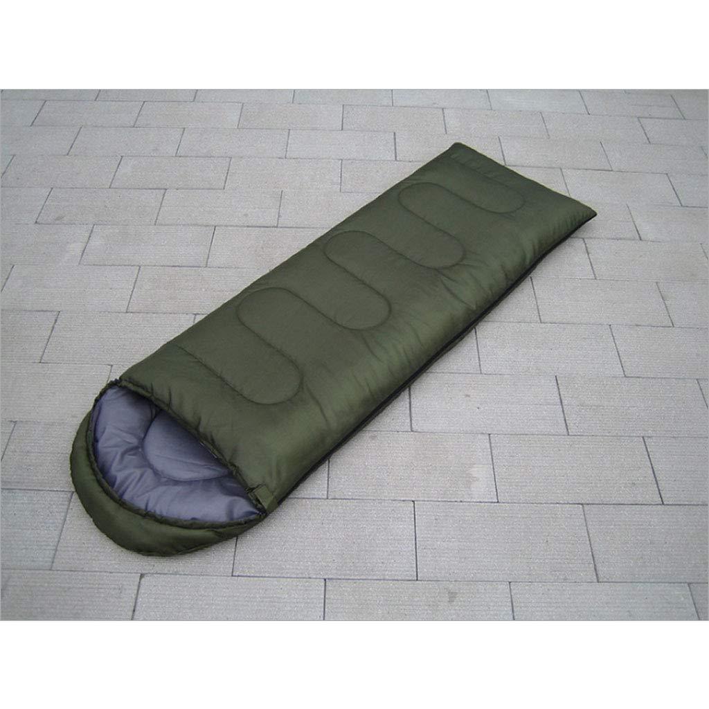 vert 1.8kg DGB Enveloppe avec Capuchon Sac De Couchage en Coton pour Adultes, Camping Extérieur Quatre Saisons