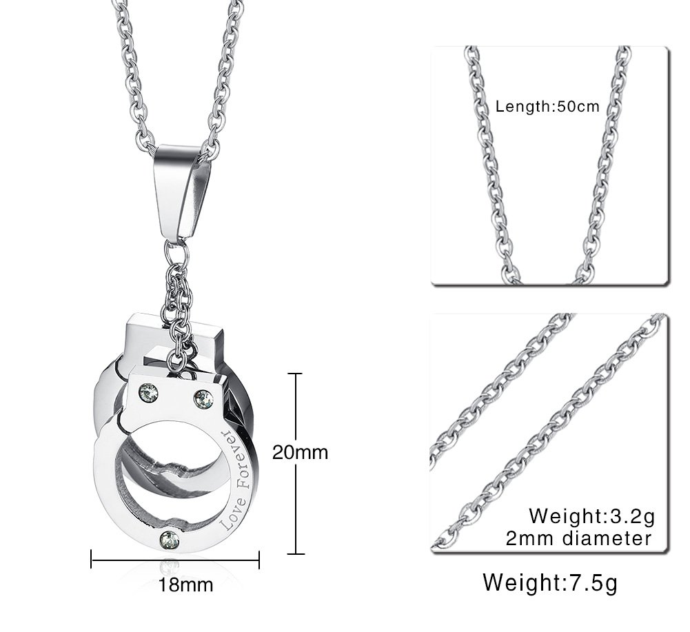 PJ Jewelry Unisex Stainless Steel Engraved Love Forever Handcuffs Pendant Necklace with 20'' Chain by PJ Jewelry (Image #2)
