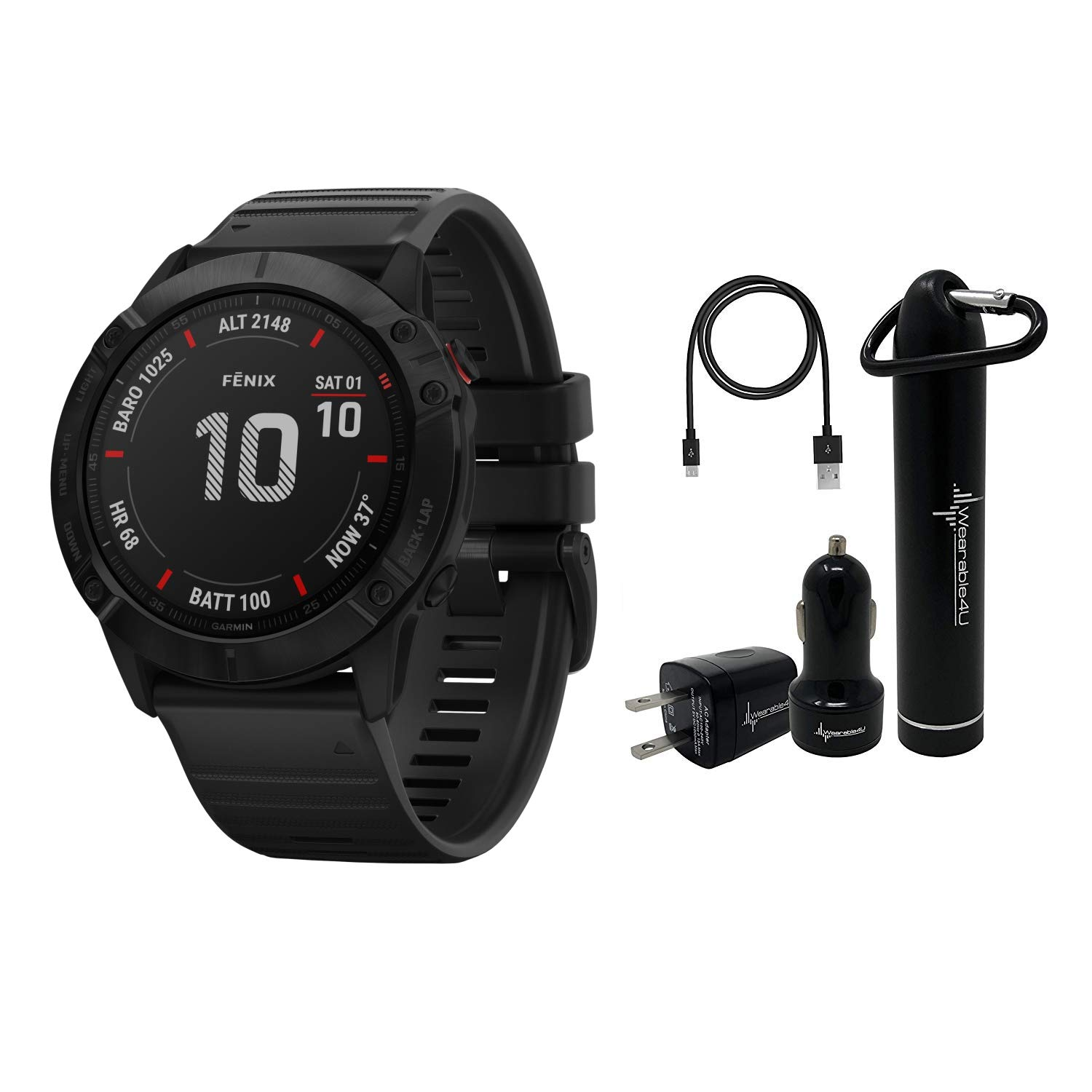 Garmin Fenix 6X Premium Multisport GPS Watches with Pulse OX, Routable Maps and Music with Included Wearable4U Power…