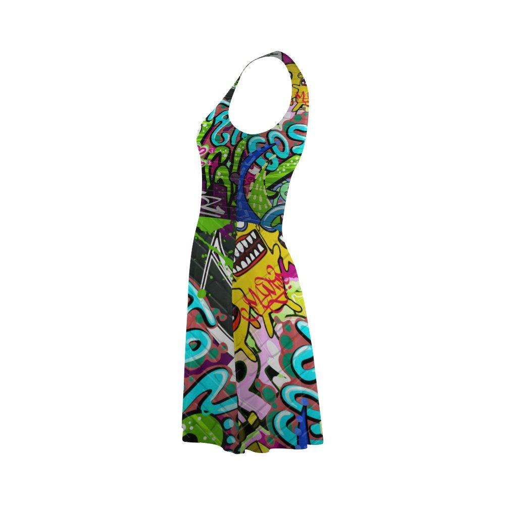 Womens Graffiti Pop Art Print Polyester Casual Sundress