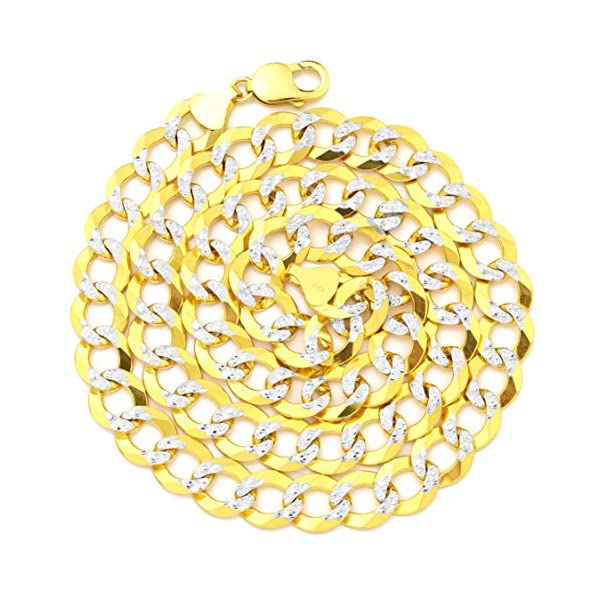 LoveBling-10K-Yellow-Gold-12mm-Solid-Pave-Curb-Chain-Necklace-with-White-Gold-Pave-Diamond-Cut-with-Lobster-Lock-18-to-30