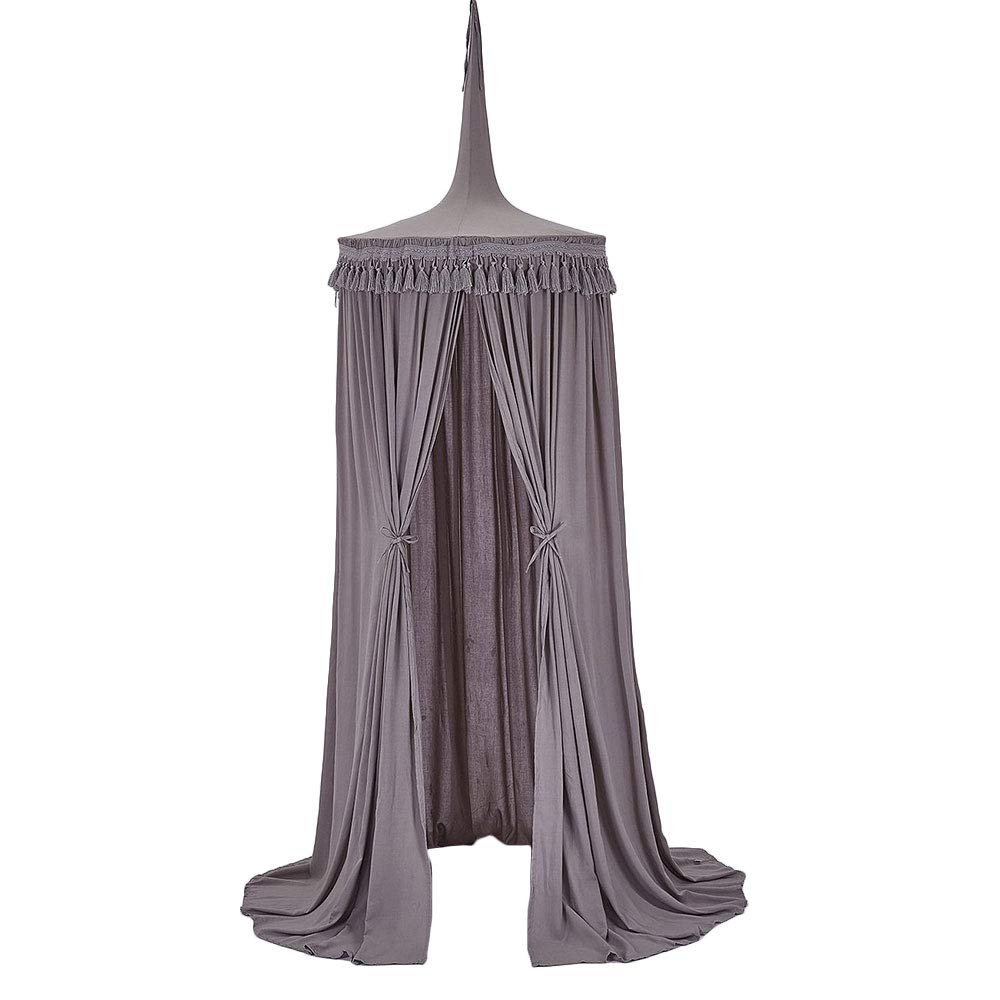 Tassel Princess Bed Canopy Mosquito Net Bed Curtain Round Crib Tent Hung Dome Mosquito Net for Baby Girl White (Gray) by NICELEC Bed Canopies