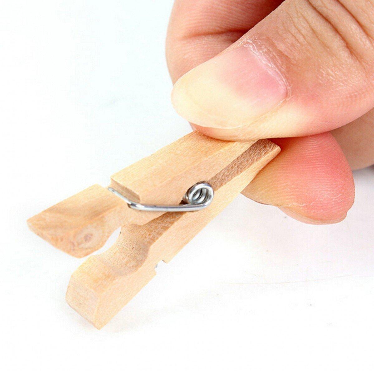 chengyida 200pcs 35/mm Mini pinzas de madera natural lavander/ía fuerte Craft Clips peque/ño