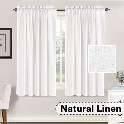 H.VERSAILTEX White Window Curtain Linen Textured Panels for Small  Windows/Kitchen/Living Room/Bedroom, Rod Pocket, Natural & Durable (52 x 63  inches ...
