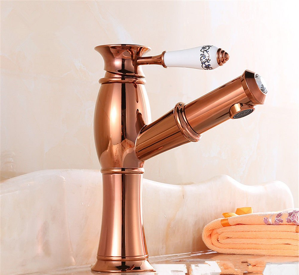 1 LHbox Basin Mixer Tap Bathroom Sink Faucet pink gold Euro-copper basin mixer basin faucet hot and cold sepia wash it scalable to pull, pink gold plus high Taps