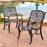 Cheap Great Deal Furniture Covington | Outdoor Cast Aluminum Dining Chair | Set of 2 | in Bronze