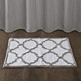 Dustin Cotton Tufted Bath Mat, Classic Geometric Pattern Bathroom Rugs, 24X40, Grey