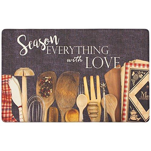 Chef Gear Utensils Season with Love Gelness Mat, 20 x 39 in.Gelness, Black (Kitchen Utensil Rugs)