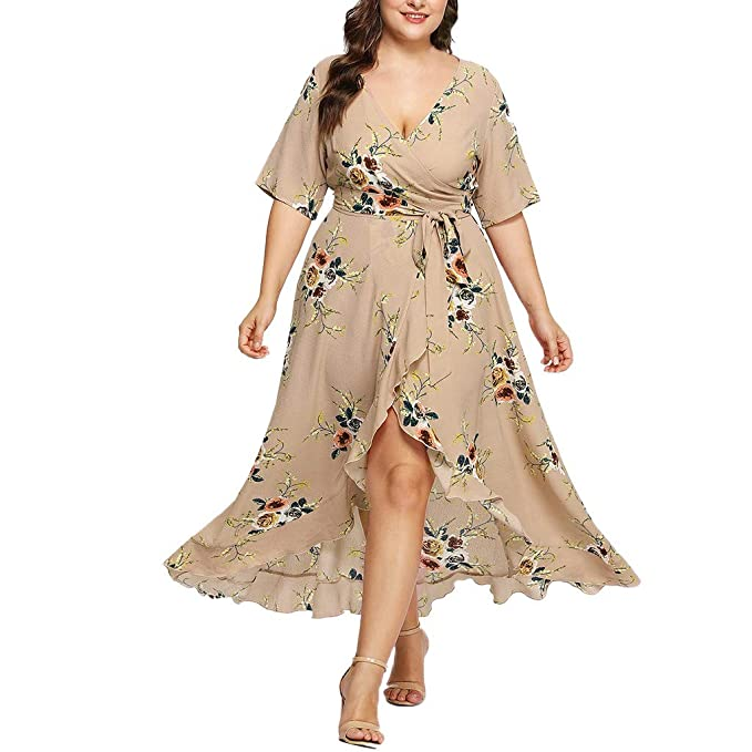 Amazon.com: kaifongfu Women Plus Size Dresses Casual Short ...