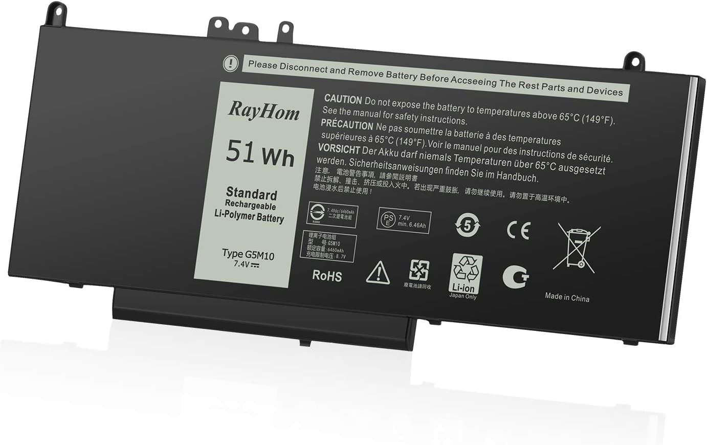 RayHom Replacement G5M10 Laptop Battery - for Dell Latitude 14 E5450 Latitude 15 E5550 Notebook 15.6