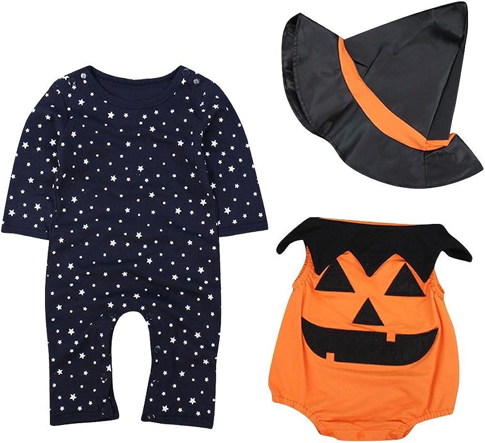 Le SSara Bebé Invierno Calabaza Halloween Mameluco recién Mono Traje Trajes 3 Piezas