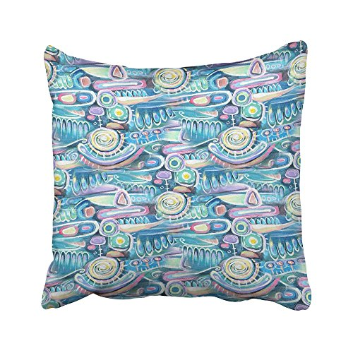 Emvency Decorative Throw Pillow Covers Cases Abstract Canvas Bouquet Flowers Sea Blooming Peas Turquoise Color Composition Aztec Maya Incas 16x16 inches Pillowcases Case Cover Cushion Two Sided